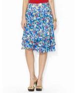 Ralph Lauren Womens Blue Floral Lined A Line Tiered Ruffled Knee Length ... - $34.39