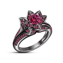 Brilliant Cut Pink Sapphire 925 Sterling Silver Wedding Fashion Lotus Ring - £57.27 GBP