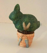 "Hallmark Marjolein Bastin ""Green Bunny Shears"" Ceramic Trinket Box w/Hin... - $14.44"