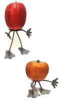 7055 Inc Halloween Pun'kin Pumpkin Fruit Head Welded Metal Art Set of 2 ... - $49.99