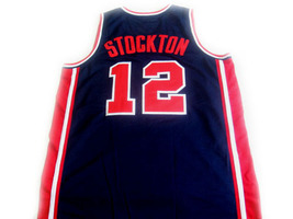 John Stockton #12 Team USA Basketball Jersey Navy Blue Any Size image 5