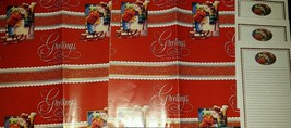 New Christmas Gift Wrap Paper Set》Greetings of the Season》Snowman & Child - $8.99