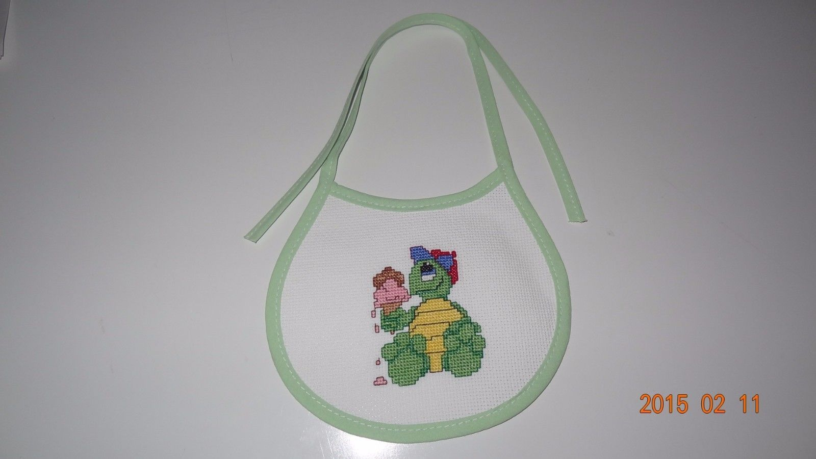 New Baby Bib Turtle ice cream handmade boy or girl Unisex Finished Cross Stitch