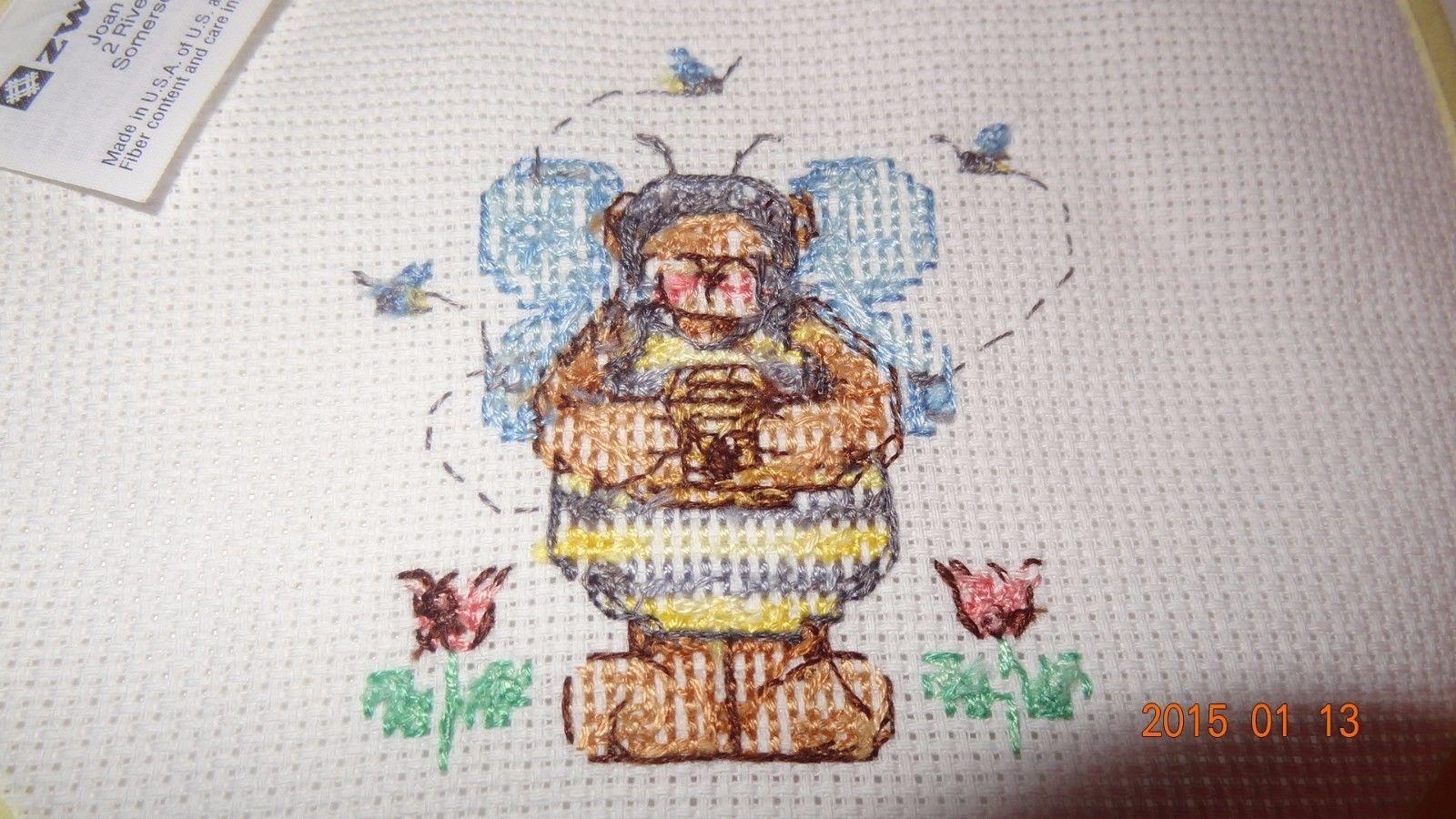 New Teddy Bear Bee Costume baby bib, Girl or Boy, Finished Cross Stitch Unisex
