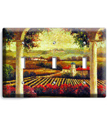 TUSCAN VINEYARD PAINTING KITCHEN DINING ROOM ART TRIPLE  LIGHT SWITCH WA... - $12.95