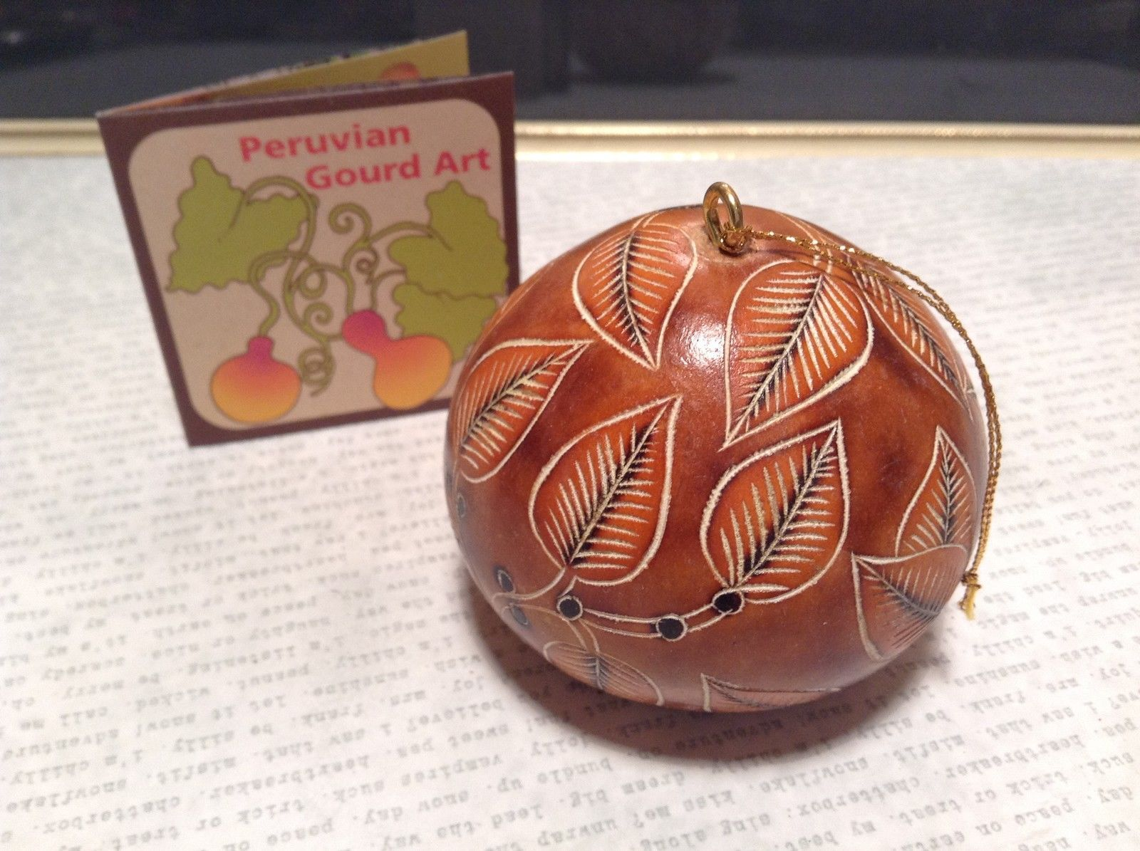 Brown Leaves Hand Carved Art Ornament Peruvian Gourd Eco Sustainable Fair Trade