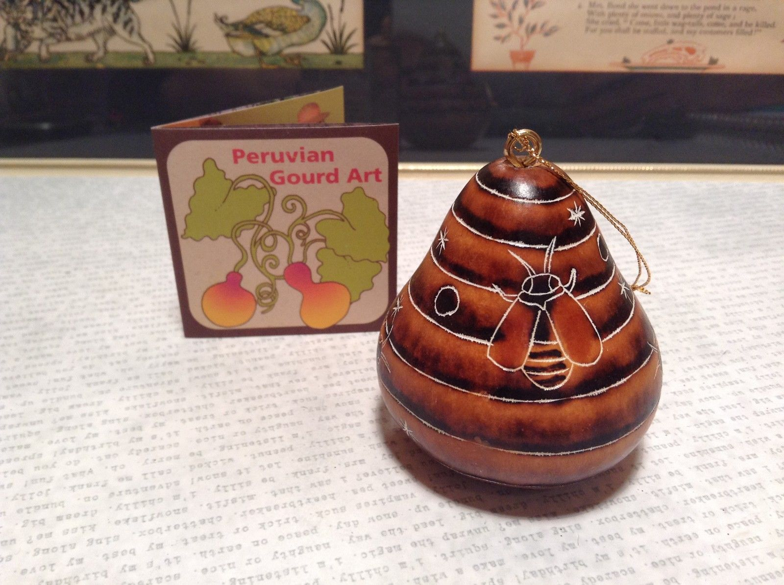 Beehive Shape Hand Carved Art Ornament Peruvian Gourd Eco Sustainable Fair Trade