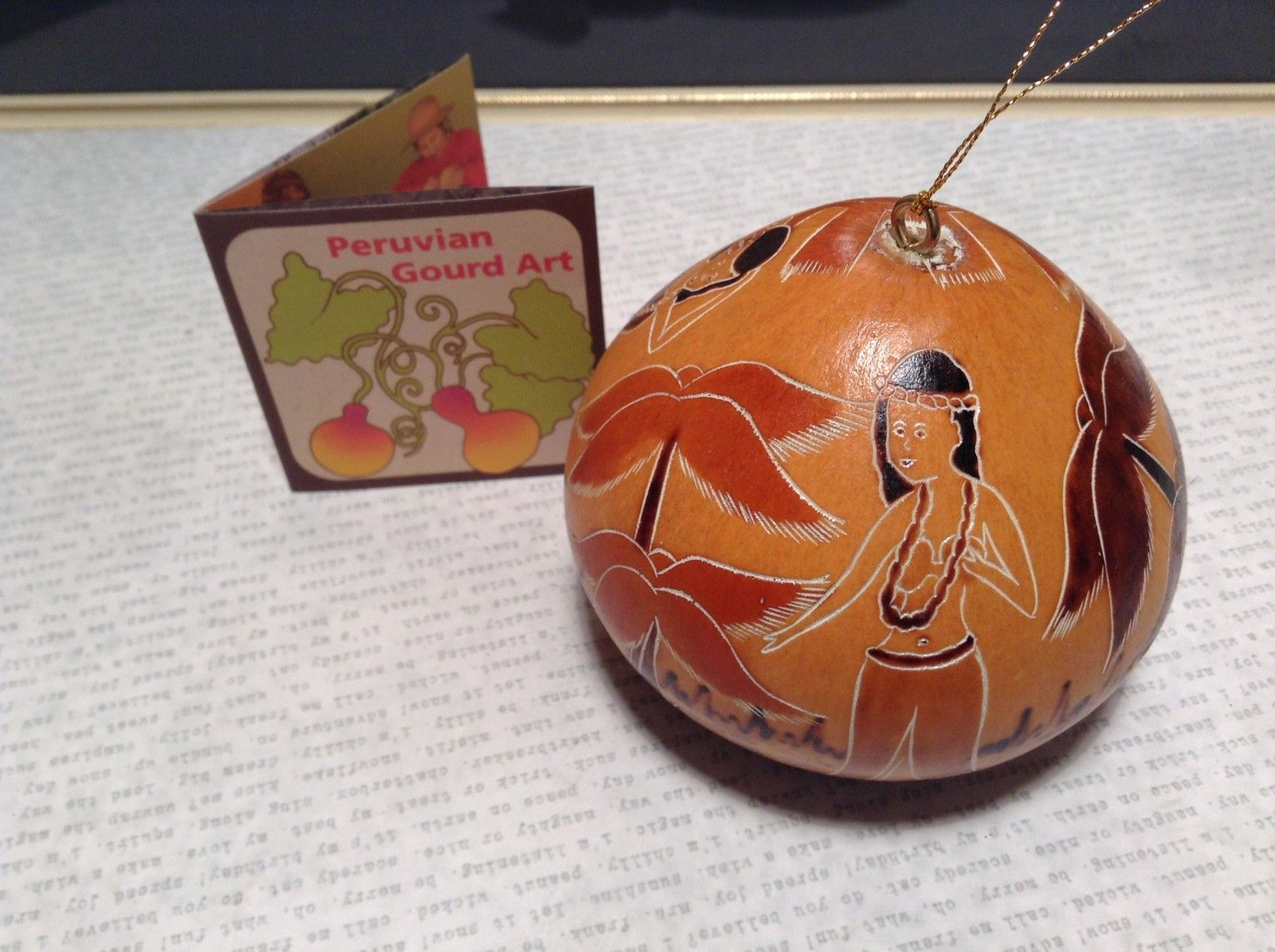Beach Scene Hand Carved Art Ornament Peruvian Gourd Eco Sustainable Fair Trade