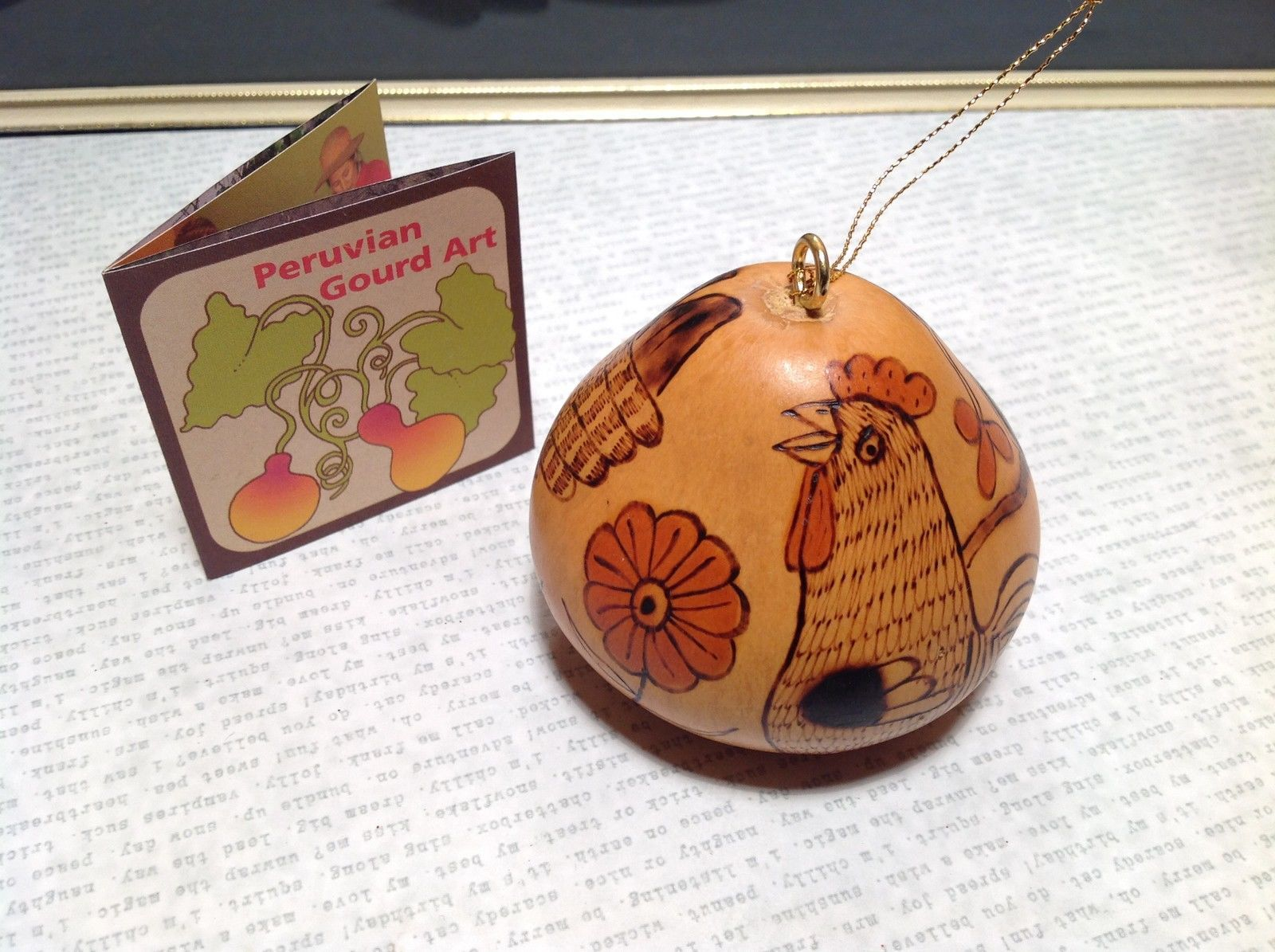 Chicken and Flowers Hand Carved Art Ornament Peruvian Gourd Eco Sustainable