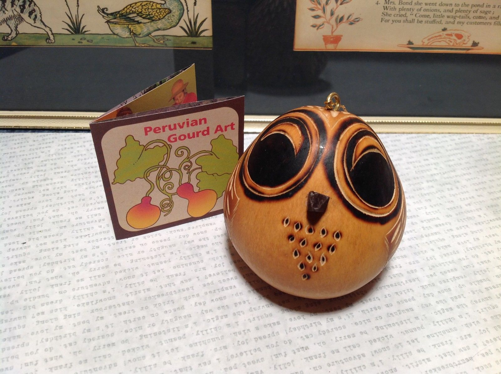 Owl with Black Eyes Hand Carved Art Ornament Peruvian Gourd Eco Sustainable