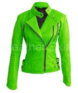 Leather Skin Women Parrot Green Brando Shoulder Padded Genuine Leather J... - $179.99
