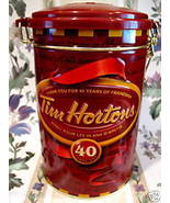 TIM HORTONS Coffee Tin Canister CANADA Hockey  # 4 Edition 40 Years Souv... - $14.95