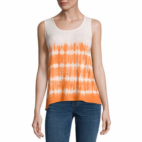 a.n.a. Women's Tye Dye Lace Back Tank Top Tandori Spice Orange Size SMALL