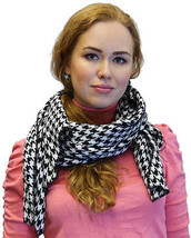 Large Houndstooth Pattern Scarf Shawl Wrap, Unisex - $16.23