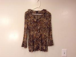 Georgette Mini Pleats V-Neck Ruffle Blouse Leopard Print, Magic Scarf, one size