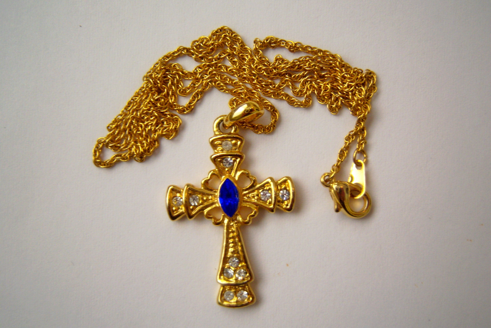 Cross Neclace. Christian Cross Jewelry. Cross With Blue And Clear Stones.