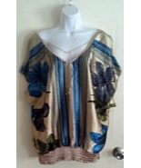 HeartSoul Flowered Deep V-Front/Back Gathered Waist Tunic Sleeve Blouse ... - $13.99