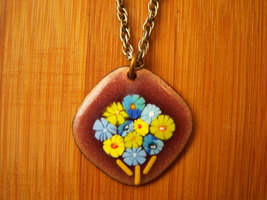 Small Vintage Enamel On Copper Necklace - $11.00