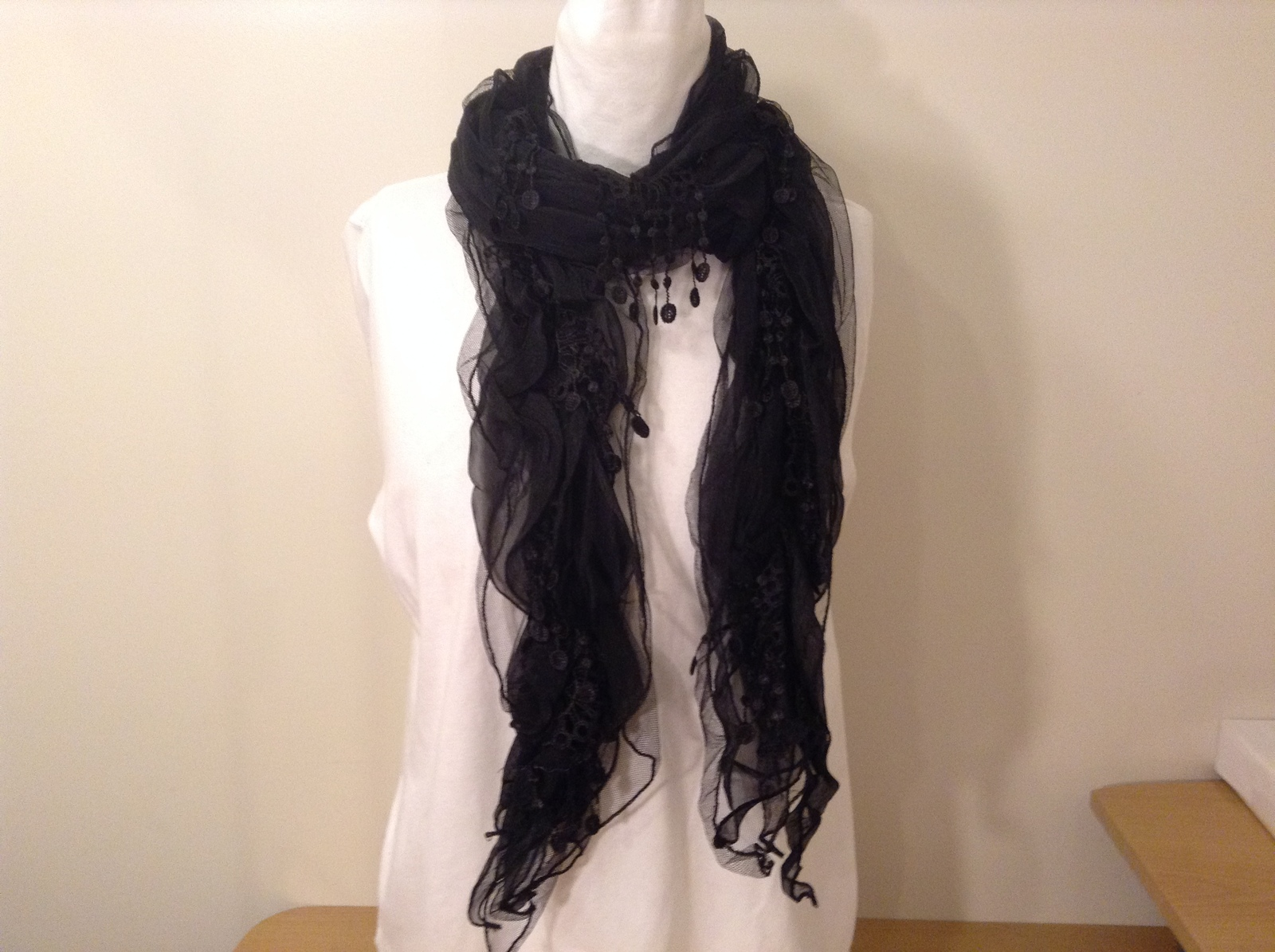 Sheer Lace Black Scarf by Magic Scarf company