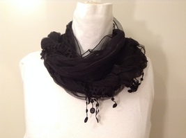 Sheer Lace Black Scarf by Magic Scarf company  image 2