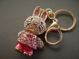 Bunny Rabbit  Key Chain with  Rhinestones Movable Keychain Crystals Gold... - $15.99