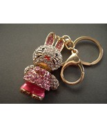 Bunny Rabbit  Key Chain with  Rhinestones Movab... - $15.99