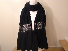 Sandra Fellini Black Winter Lace Scarf with Pleated Ends 100% Acrylic