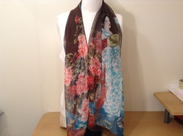 Silky Geisha design dress scarf, Brown, 100% polyester - $39.99