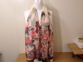 Silky Geisha design dress scarf, Cream, 100% polyester