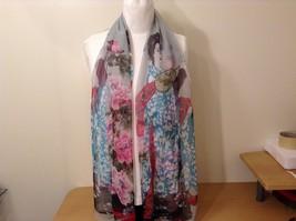 Silky Geisha design dress scarf, Gray, 100% polyester