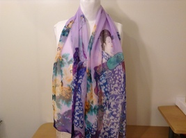 Silky Geisha design dress scarf, Lavender, 100% polyester