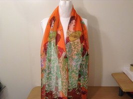 Silky Geisha design dress scarf, Orange, 100% polyester