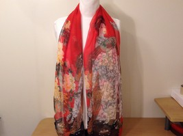 Silky Geisha design dress scarf, Red, 100% polyester