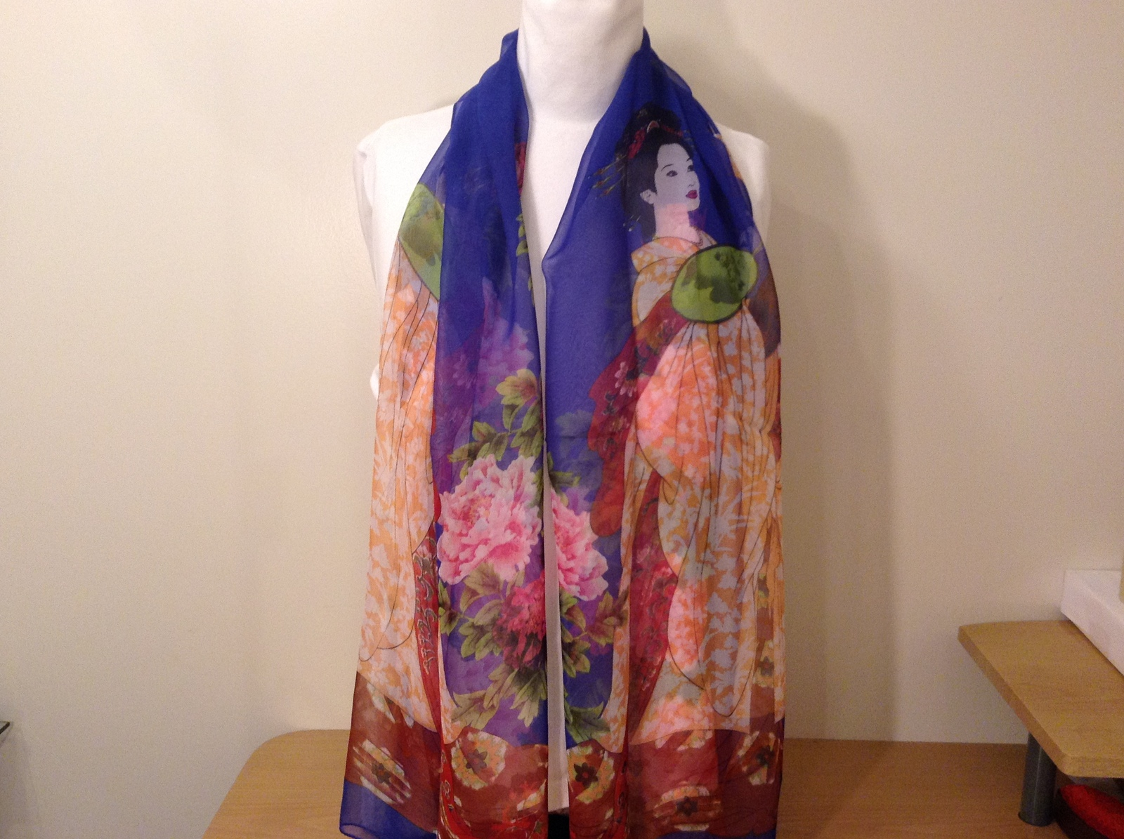 Silky Geisha design dress scarf, Royal Blue, 100% polyester