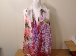 Silky Geisha design dress scarf, White, 100% polyester - $39.99