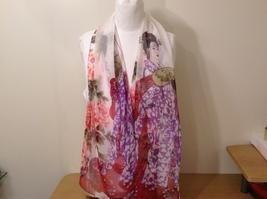 Silky Geisha design dress scarf, White, 100% polyester