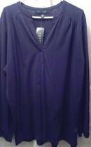 Ralph Lauren Blouse Top Ladies Plus Navy 3X V-NECK SOFT COTTON New SALE ... - $30.20