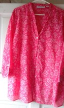 Blouse  Floral  Watermelon Red & White  Pre-Owned Sag Harbor  Mint   2 XL - $14.84