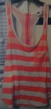 Tank Top  Roxy  Size Sm.  Orange & White Thick Striping  Pocket  Zip Up ... - $15.59