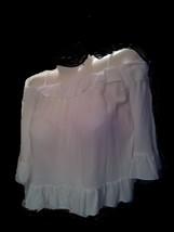 ELODIE Peasant Blouse XS NWT/White Thin Straps Ruffled Very Soft Very Pr... - $18.32