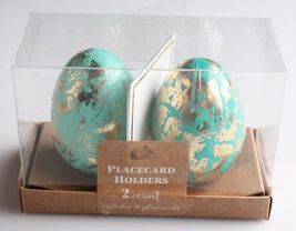 NEW Dozen Decorative Easter Table Blue/Teal Gold Foil Egg Place Card Holders NIB image 3