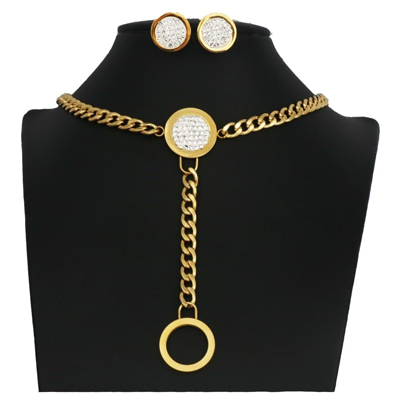 Primary image for round Charm gold color Necklace earings Jewelry Set for Women Bijouxgift