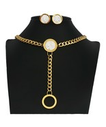 round Charm gold color Necklace earings Jewelry Set for Women Bijouxgift - $20.81