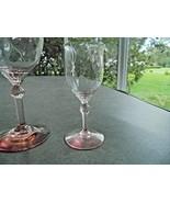 Heisey Fairacre Flamingo Pink Diamond Optic 2 1/2 ounce Wine Glass Signed - $11.88