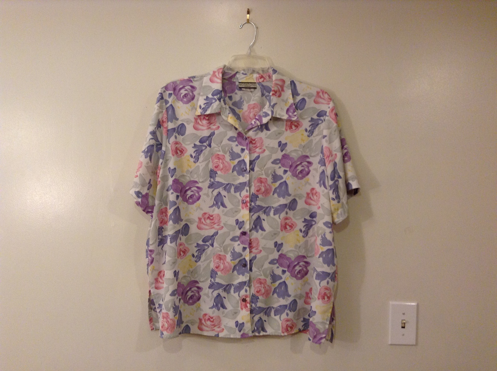 Notations Woman Floral Pattern Front Buttons Multicolored Blouse Shirt, size 22W