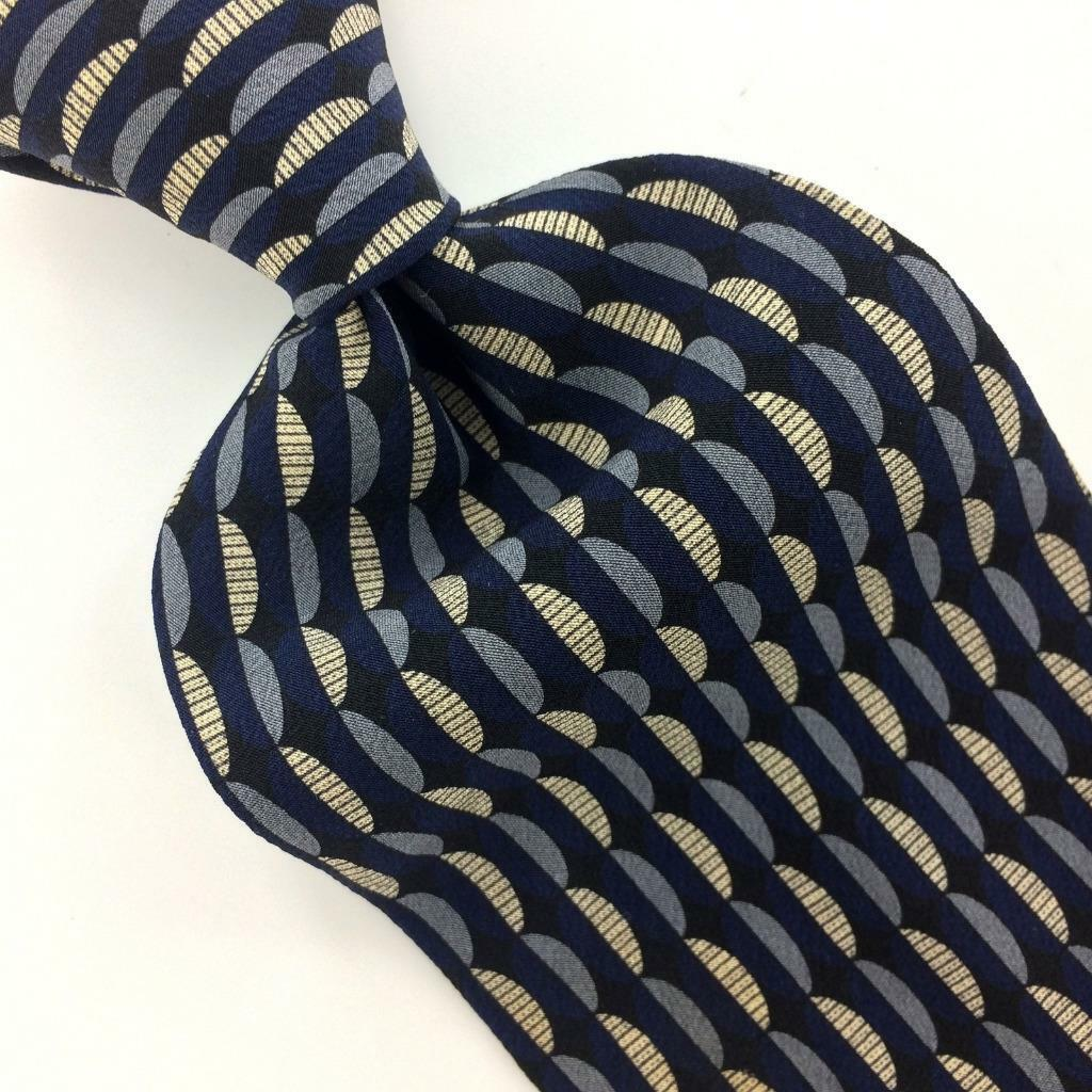 KENNETH COLE USA TIE GEOMETRIC Waves NAVY BLUE Silk Necktie Gray Ties I14-419