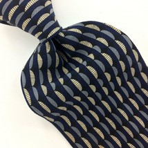 KENNETH COLE USA TIE GEOMETRIC Waves NAVY BLUE Silk Necktie Gray Ties I14-419 image 1