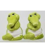 Vintage Whimsical Green Alligator Salt and Pepper Shakers Gators - $19.79
