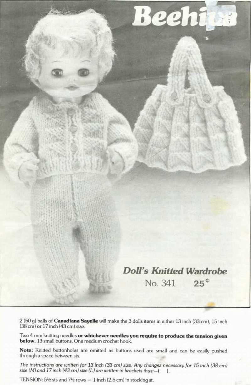 Knitting pattern for 13 - 17 in dolls wardrobe. PDF Beehive