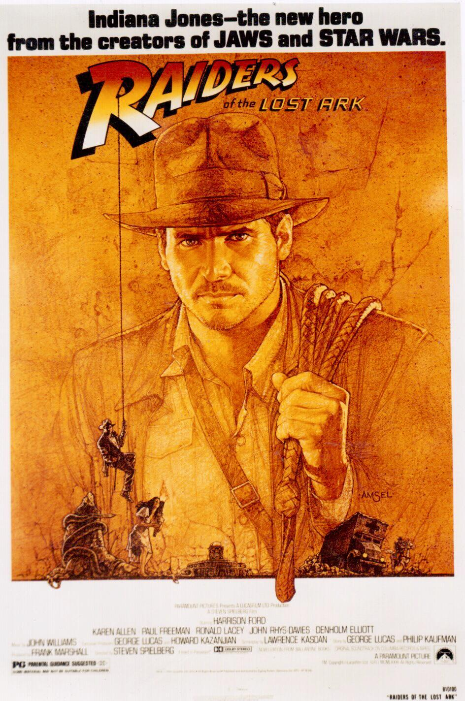 Signed raiders of the lost ark movie poster